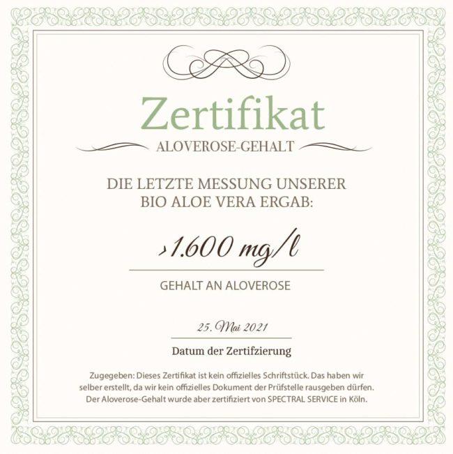 Aloverose Zertifikat